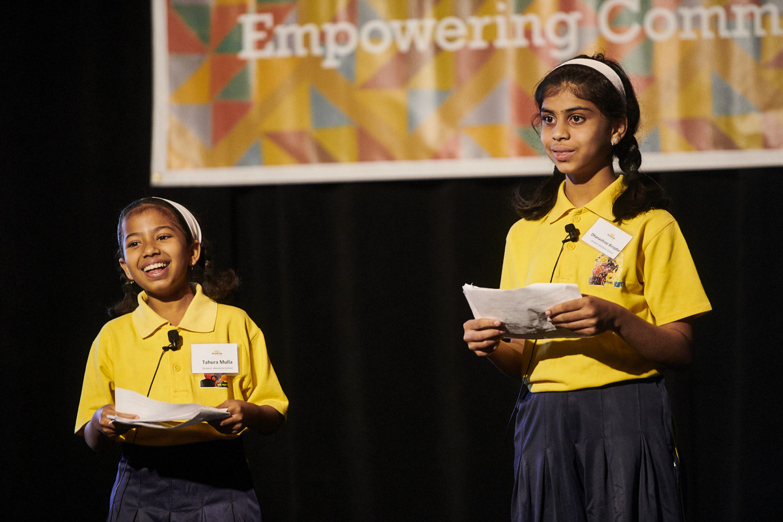 Tahura and Dhanashree, 6th Grade Akanksha Students, Keynote Speakers